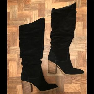 Nine West slouch suede block heeled boots, sz 8.5